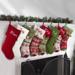 Knit christmas stockings in the authentic red, green and white color