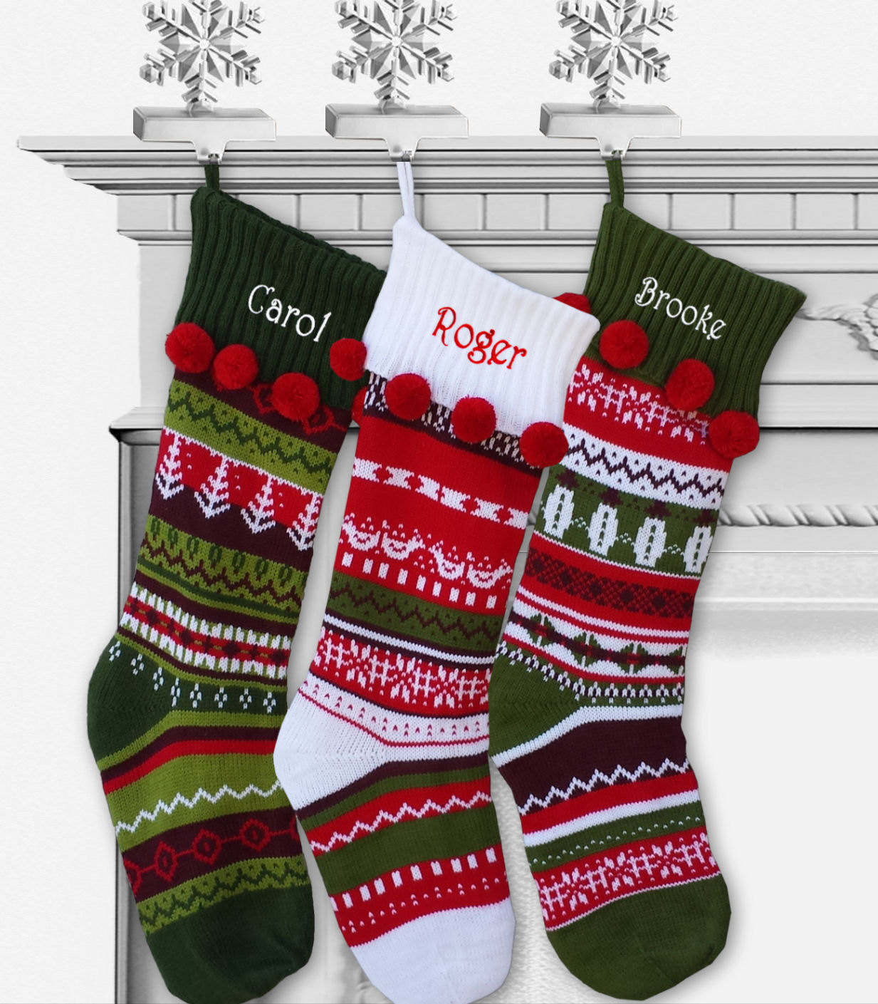 Knit christmas stockings in the authentic red, green and white color ...