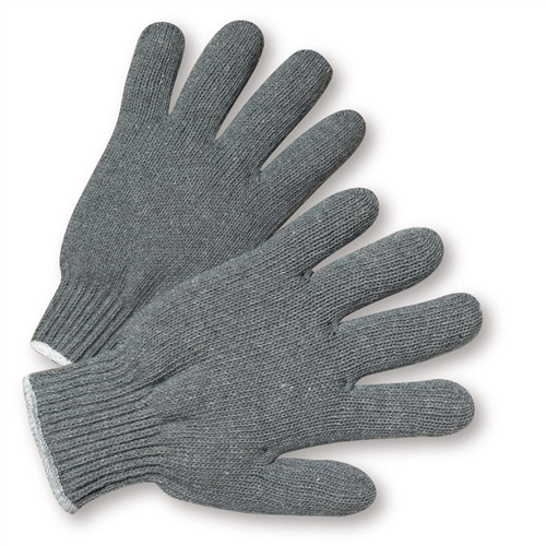 knit gloves west chester 712sg heavy weight string knit gray poly/cotton gloves YOHRHKJ