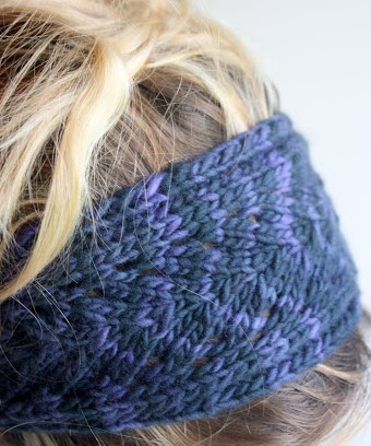 knit headband pattern blue leaf headband GLOMBKJ