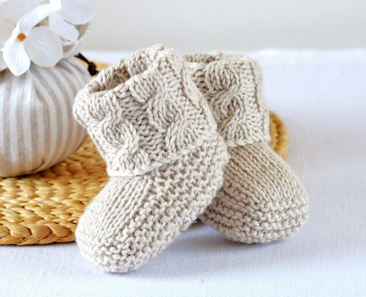 knitted baby booties (6) name: u0027knitting : aran cable booties more HJFUGIY