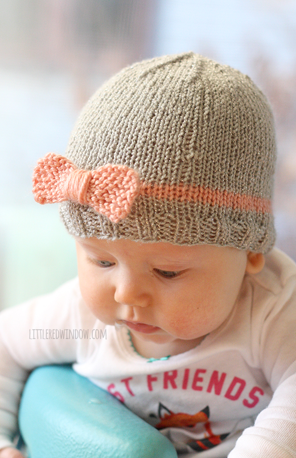 knitted baby hats ... knit bow baby hats | littleredwindow.com | a quick easy and free  knitting BPJUNKX