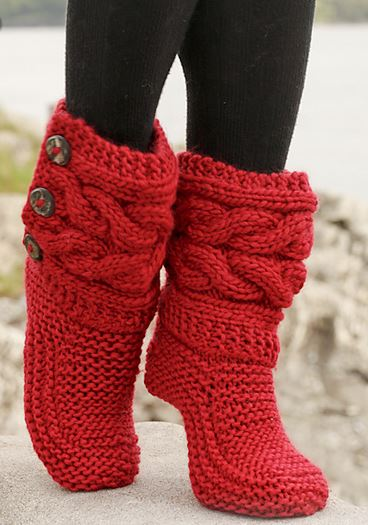knitted boots little red riding slippers by drops design - cutest knitted diy: free  pattern for CRKUZVS