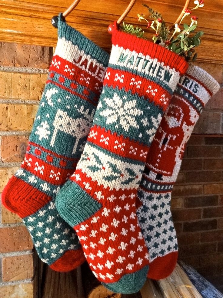 knitted christmas stockings holly and snowflake knitted personalized ...