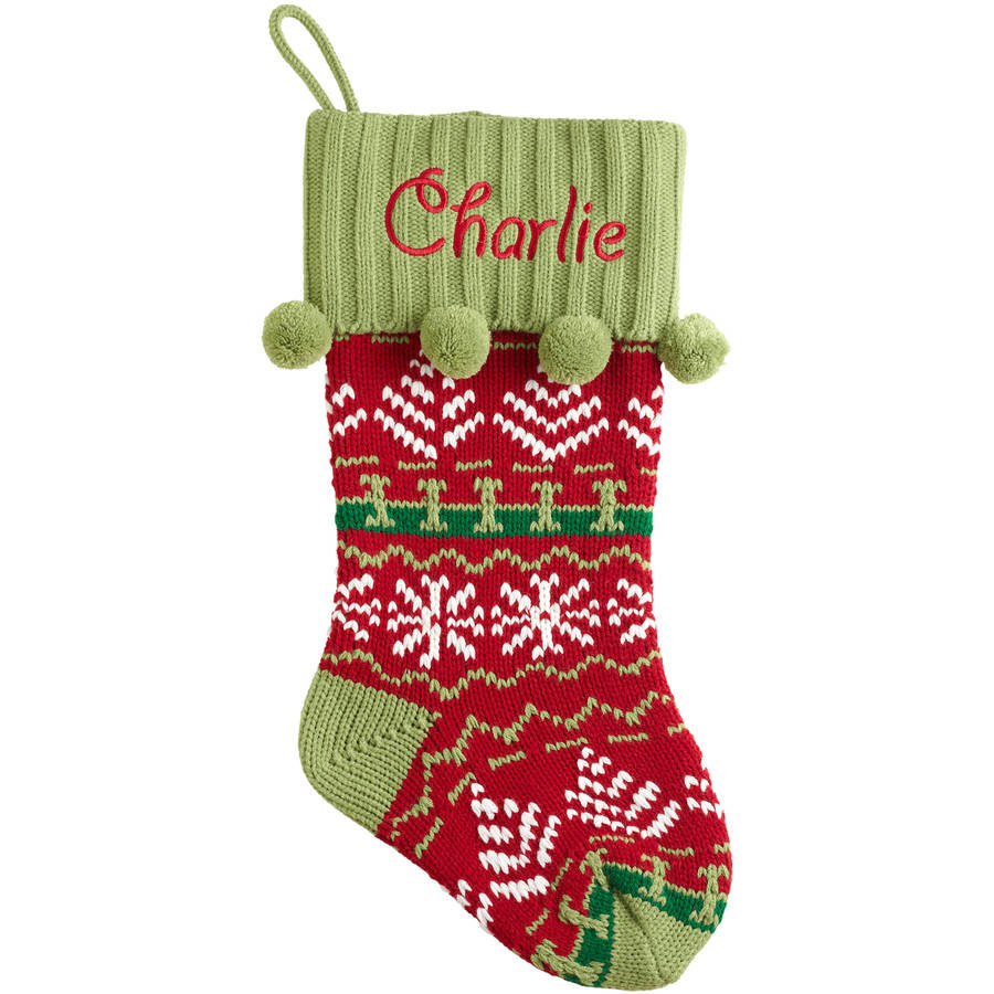 knitted christmas stockings personalized snowflake knit christmas stocking, available in 11 designs -  walmart.com PNKNVRX