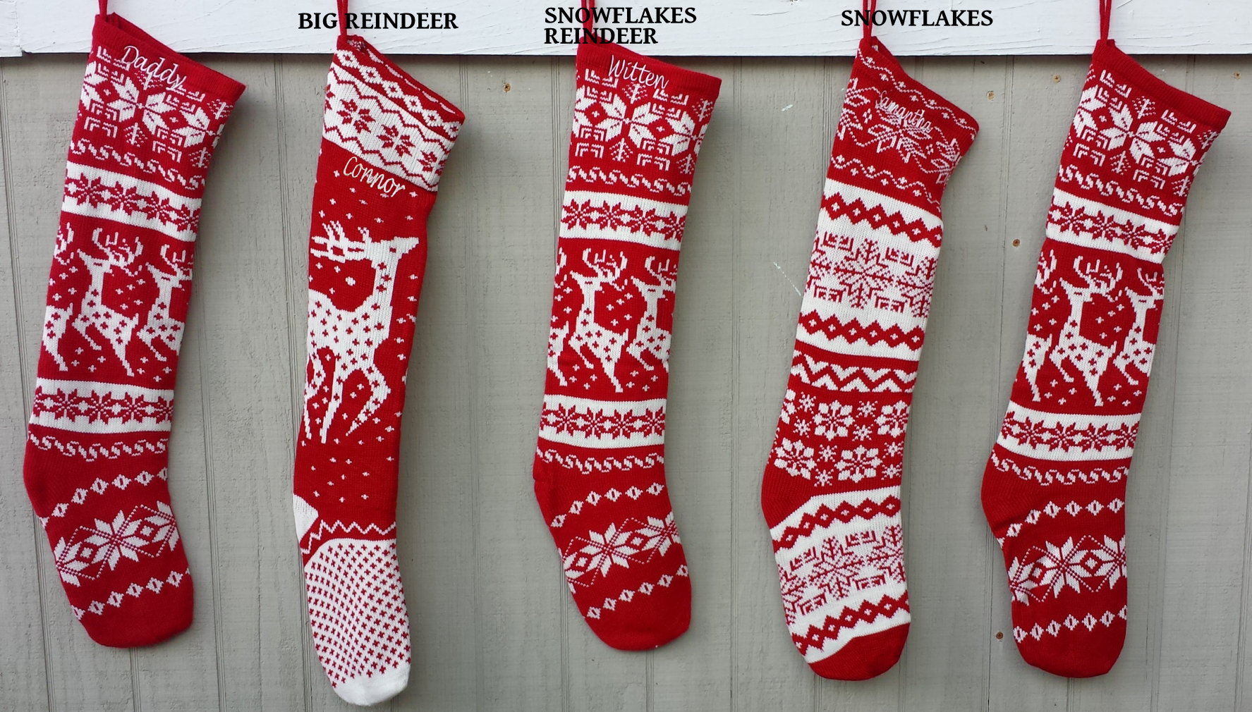 knitted christmas stockings red and white ... CDQCUXN