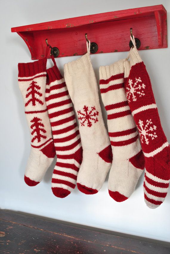 knitted christmas stockings red with white snowflakes for mck ~ hand knit christmas stocking  traditional red by FHHKCZZ