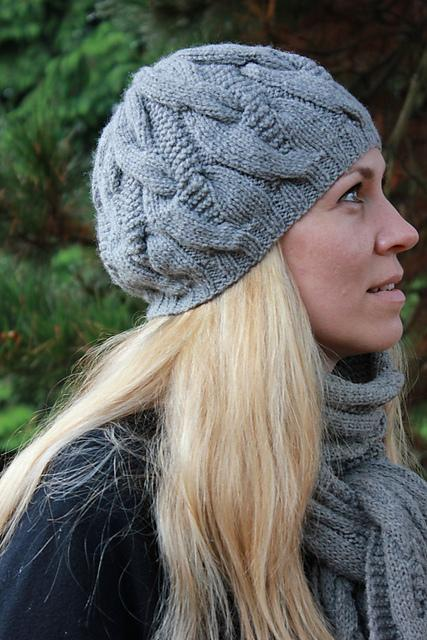 knitted hat patterns hat and scarf with cables free knitting pattern DDMVQUH