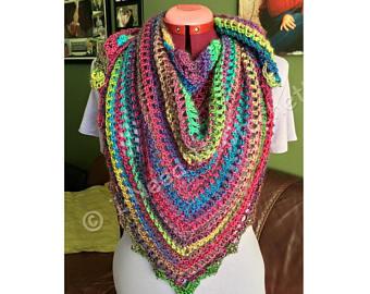knitted shawl shawl, crochet shawl, wedding shawl, knit shawl, triangle scarf, shawlette, JGGXUNC