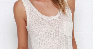 knitted tank top cute beige top - knit tank top - $28.00 RKQCVHE