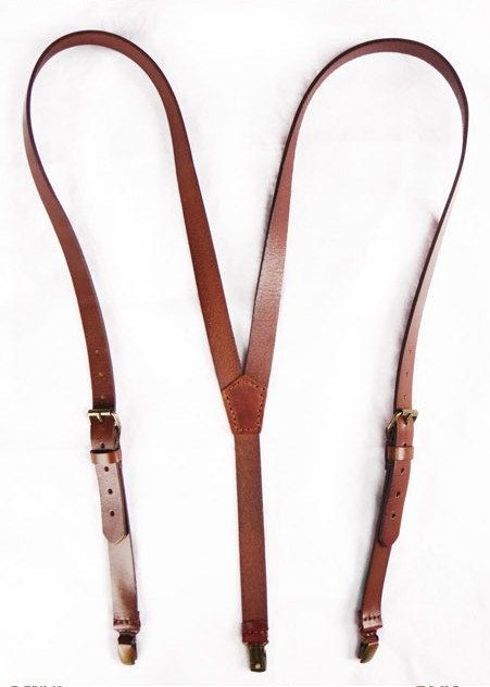 leather suspenders hand stitched leather suspender in brown by sunmarkstudio on etsy, $38.00 MUODLFG