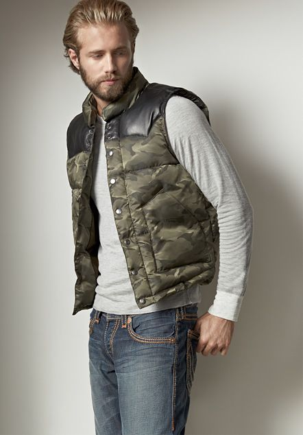 leather yoke nylon camo mens puffer vest - mens shop the look - true MJXTGIM