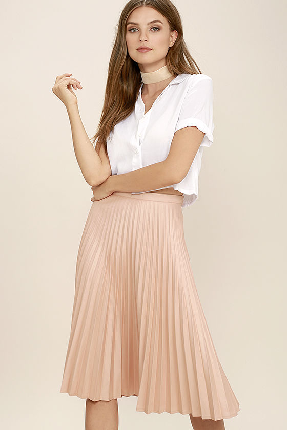 like a phenomenon blush pink pleated midi skirt 1 KIRQPYQ