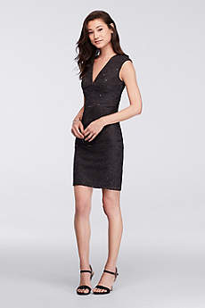 little black dress short sheath cap sleeves cocktail and party dress - davidu0027s bridal DZQJHEE