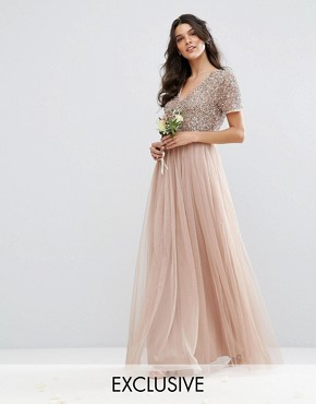 long dresses maya v neck maxi tulle dress with tonal delicate sequins CQXPJDI