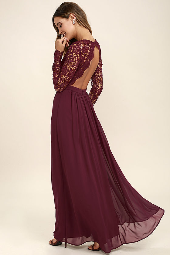 long lace dress awaken my love burgundy long sleeve lace maxi dress 1 OLFBZJC