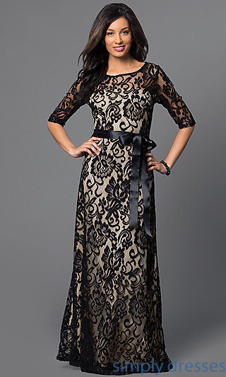 long lace dress with half sleeves sf-8793 . LMGAHAI