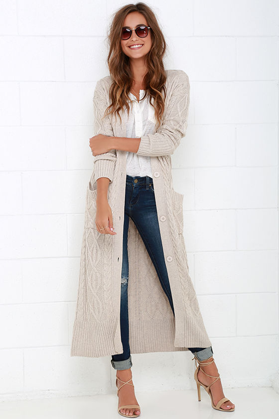 long sweaters cozy beige sweater - long sweater - cable knit sweater - $104.00 SVEICDQ