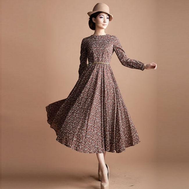long vintage style dresses EOXQPNU
