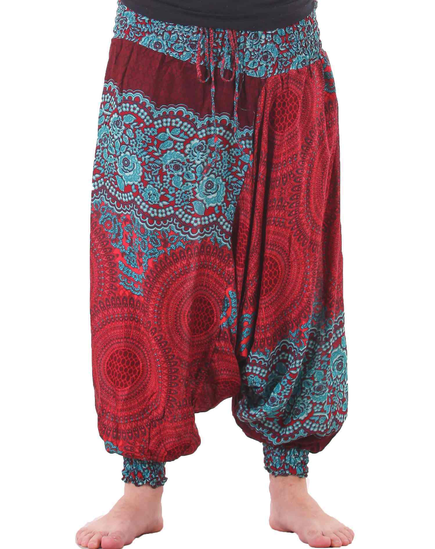 mandala harem hippie pants drop crotch in red u0026 turquoise for men PBVCZDH