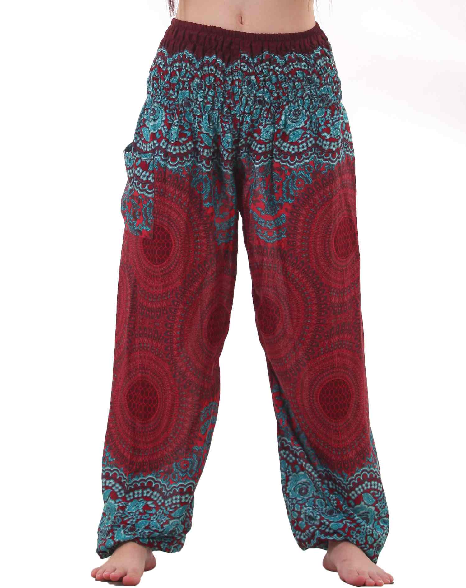 mandala harem hippie pants in red u0026 turquoise LJSHHLC