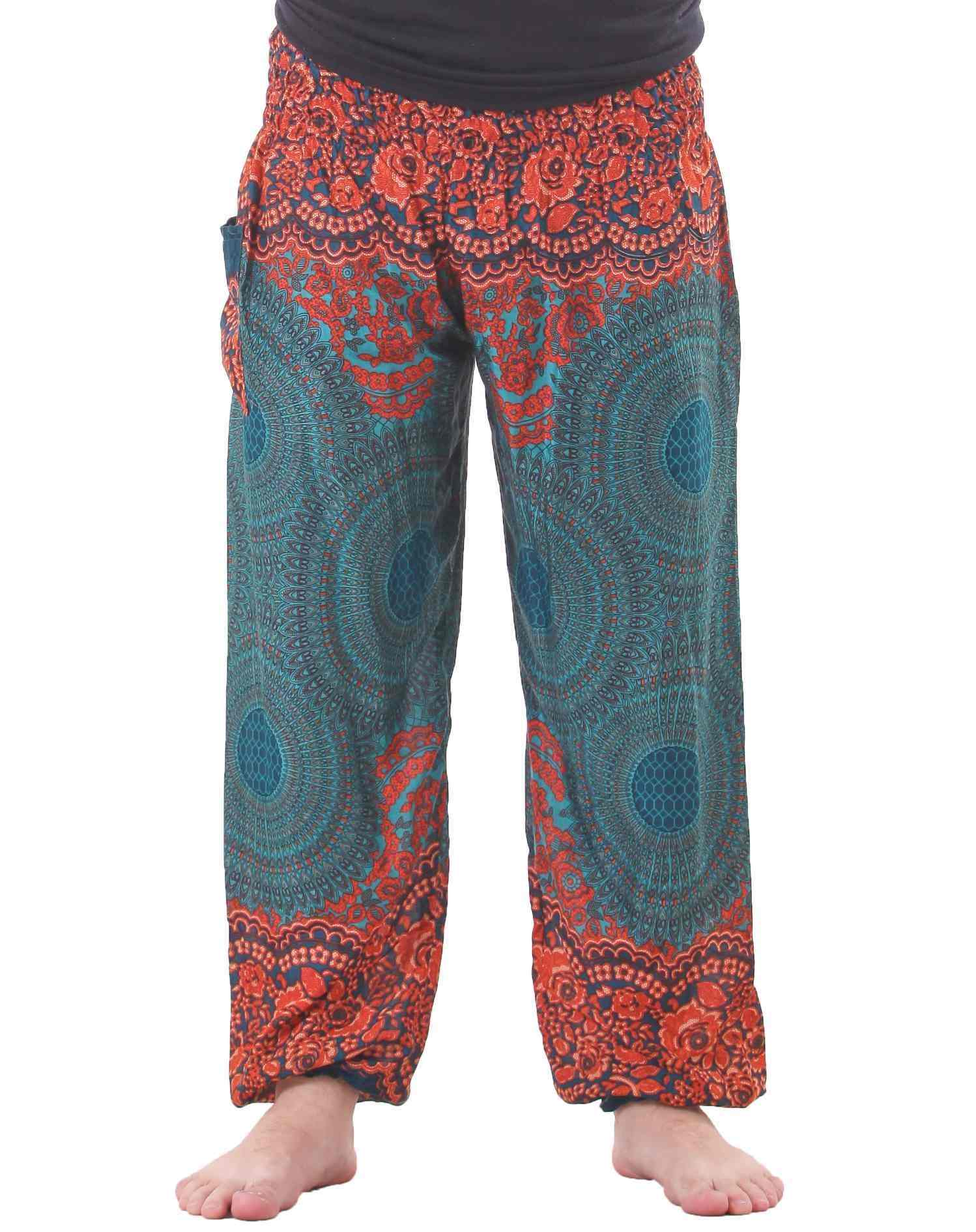 mandala harem hippie pants in turquoise for men UUBKTSN