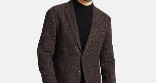 men tweed jacket, dark brown, large LBMANJO