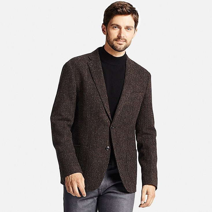 men tweed jacket, dark brown, large LBMANJO