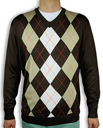 menu0027s argyle sweater sw-265 (large, brown) HDAIIVX