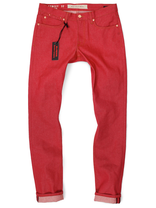 menu0027s red jeans. american made jeans in japanese raw denim. ZJAGAOL