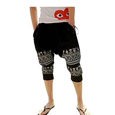 mens harem pants partiss mens cotton loose calf-length printed harem pants£¬m,black RSBKAWO