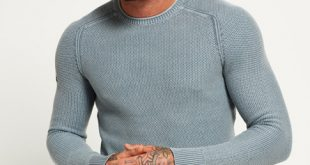 mens jumpers garment dyed la textured crew jumper TFYOZXN