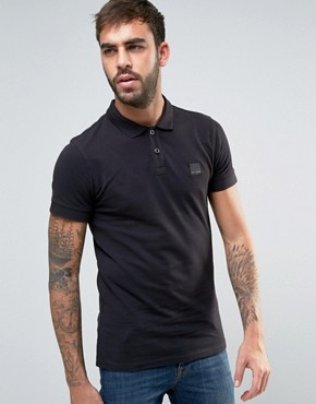 mens polo shirts boss orange by hugo boss slim polo washed pique in black NLUANCS