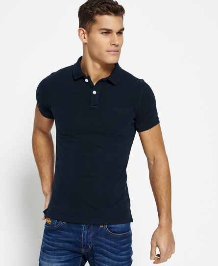 mens polo shirts eclipse navy superdry vintage destroyed pique polo shirt; black ... ROTGNDC