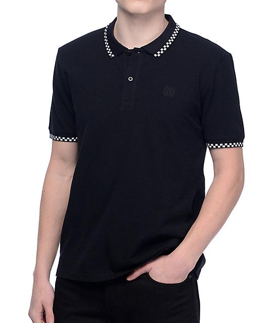 mens polo shirts huf rudie black polo shirt JHJKIAW