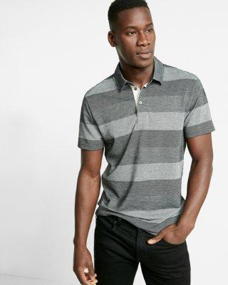 mens polo shirts ... jacquard stripe jersey polo HAZLEQU