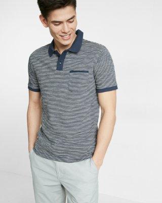 mens polo shirts ... striped jacquard flat knit jersey polo MIKNBYQ