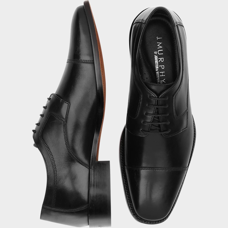 mens shoes j. murphy by johnston u0026 murphy novick black cap toe lace up shoes - menu0027s CFKCYSF