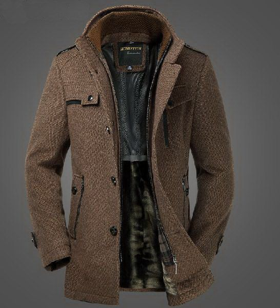 mens winter jackets mens extra thick slim fleece wool blazer dual standup collar coat winter  jacket graceful NECEHDD