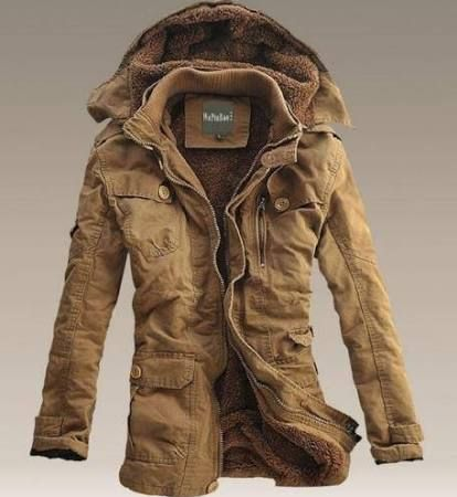 mens winter jackets mens winter fur lined hooded parka trench long warm casual coat APQJJLV