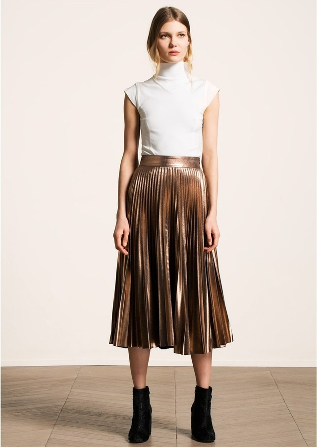 metallic pleated midi skirt NQUHFNV