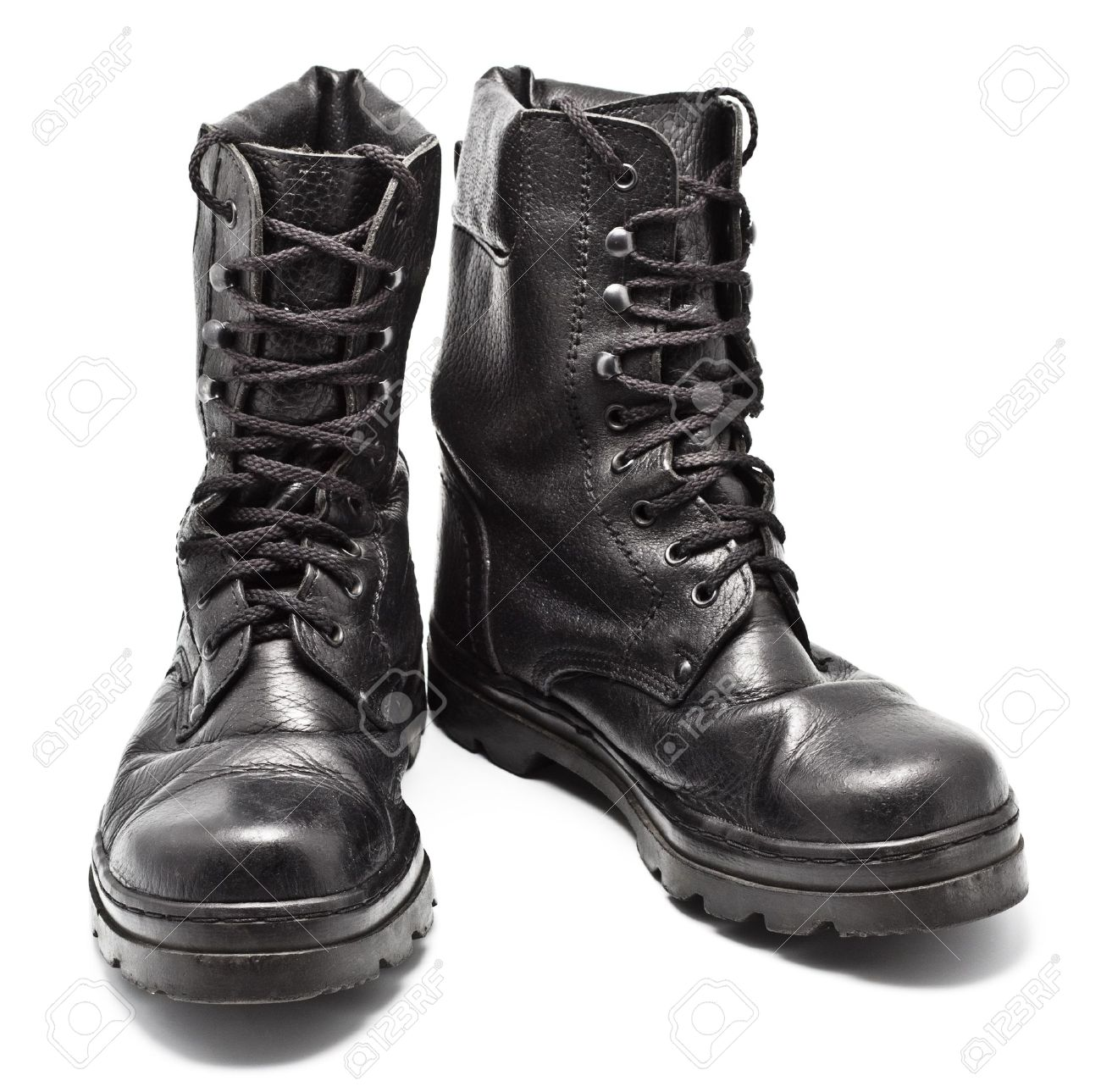 military boots: black leather army boots isolated on white CQXKGFS