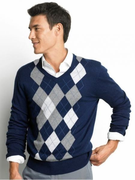 navy argyle sweater, white shirt, grey pants QNWJBTM