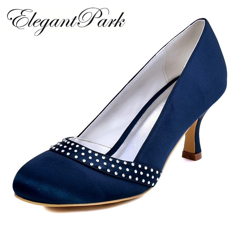 navy blue shoes classic woman shoes a0718 navy blue black round toe rhinestone 2.5 SBSBWXG