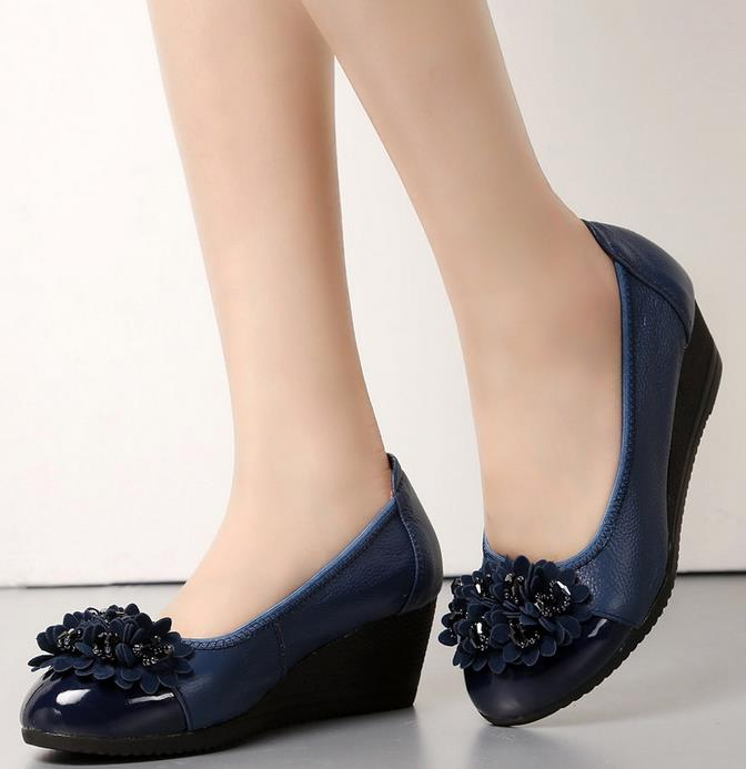navy blue shoes spring beaded leather slope with women shoes comfortable soft-soled shoes  round toe black, navy GMJPPKI