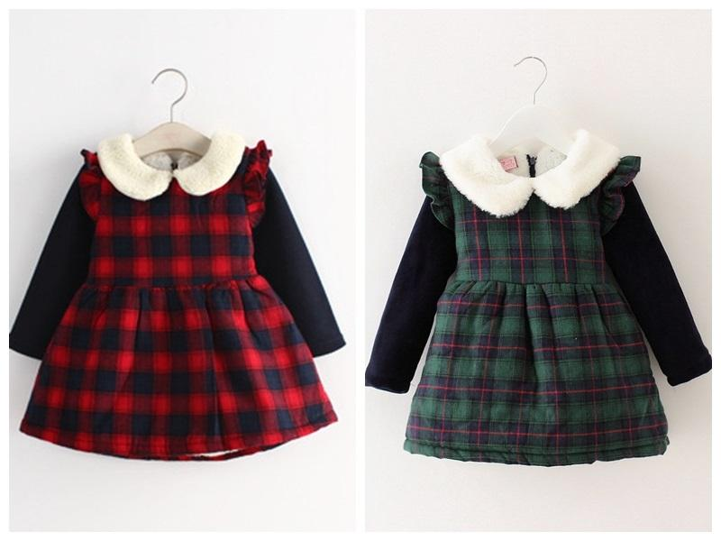 newborn infant baby winter clothes children velvet dresses kids girls winter  plaid dress ruffle TXHEXOR