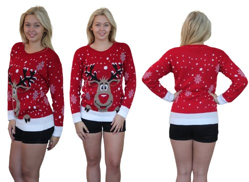 novelty christmas jumpers girltalk christmas jumper novelty knitted jumper 3050 (s/m (8-10), red):  amazon.co.uk: clothing YTXQPBL