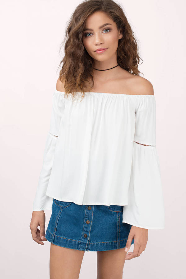 off the shoulder top dayle black shirt ... YYEJVKF
