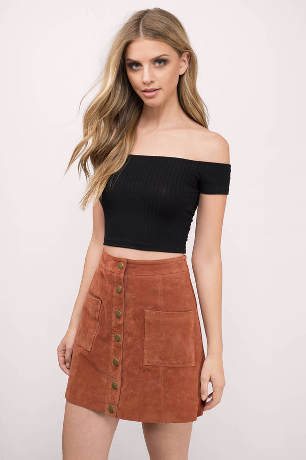 off the shoulder top talk to me black crop top BODZTUW