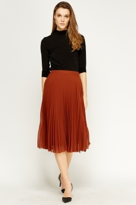 olive pleated midi skirt RKDUEAQ